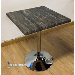 Table F Carree Pied Chrome Exterieur