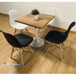 Conjointe de 4 Chaise CASUAL et Table F WHITE carree